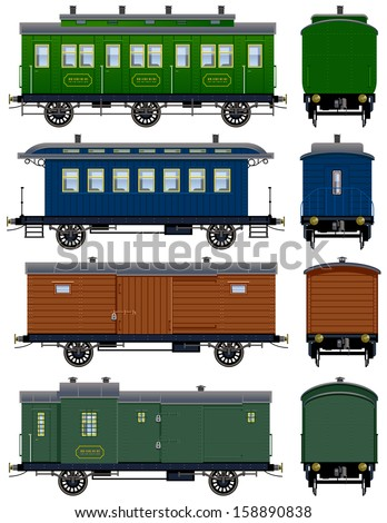 Wild West Coach. Pixel optimized. Elements are in the separate layers. In the side and back views.  The appropriate locomotives are also available ( Image ID: 158890898) - stock vector