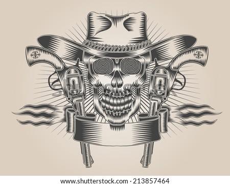 Cowboy Skull with Guns Tattoo