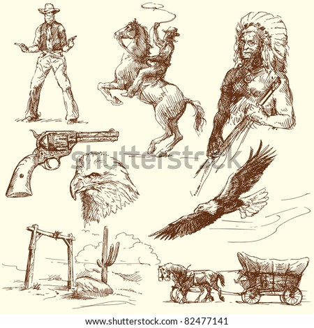 wild west collection - stock vector