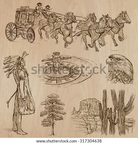 WILD WEST. Collection of an hand drawn vector illustrations. Freehand sketching. Each drawing comprise a few layers of lines. Colored background is isolated. Editable in layers and groups. - stock vector