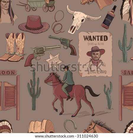 Wild West colored hand drawn pattern with Injun, cowboy, van, horse, cactus, hat, horseshoe, lasso, sheriff. - stock vector