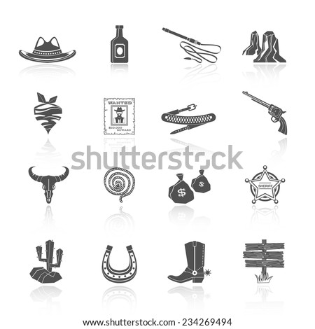 Wild west cowboy black icons set with hat bottle shoes cactus isolated vector illustration - stock vector