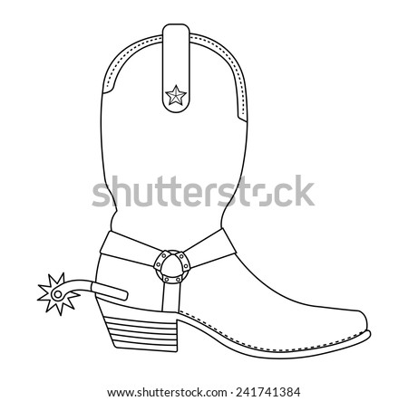 Wild west cowboy boot with spur and star. Contour lines vector clip art illustration isolated on white - stock vector