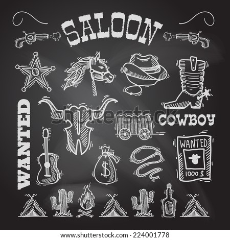 Wild west cowboy chalkboard set with gun money bag horse isolated vector illustration