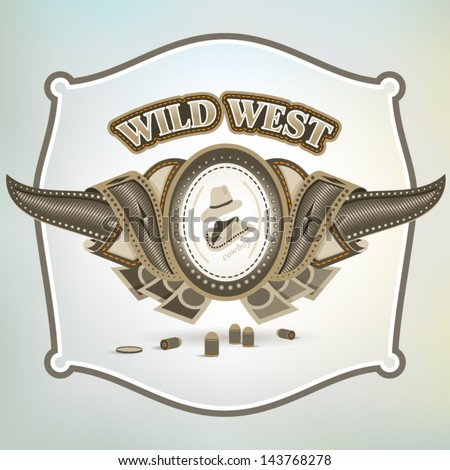wild west cowboy element emblem - stock vector