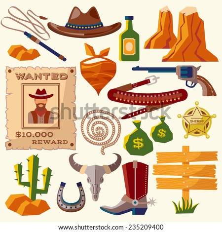 Wild west cowboy flat icons set with gun money bag hat isolated vector illustration - stock vector