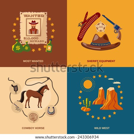Wild west cowboy flat icons set with most wanted sheriff equipment horse isolated vector illustration - stock vector