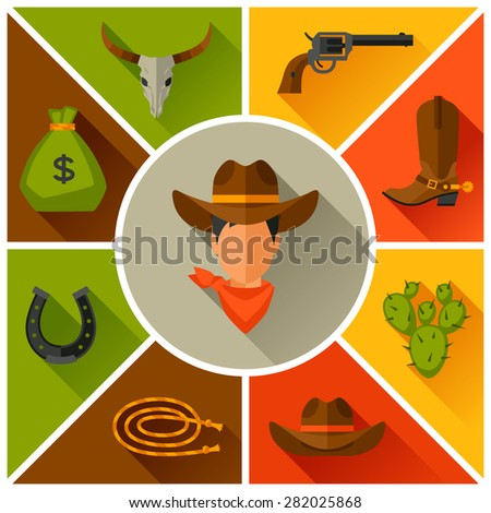 Wild west cowboy objects and design elements. - stock vector