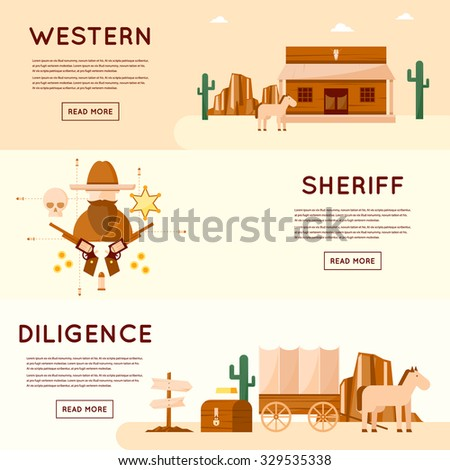 Wild west cowboys, diligence driven by gold, sheriff, crossroads desert with cactus and mountains, a chest of gold. Flat style vector illustration. - stock vector