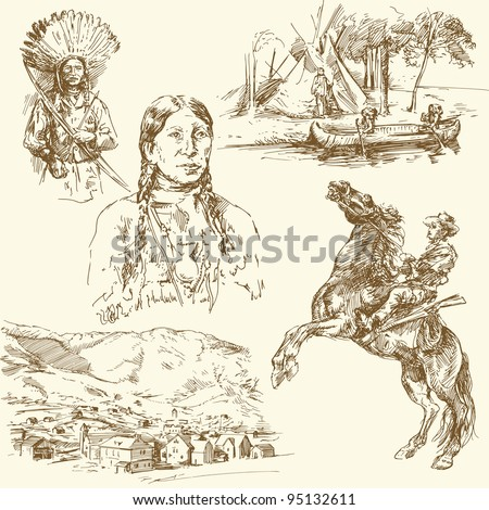 wild west - hand drawn collection - stock vector