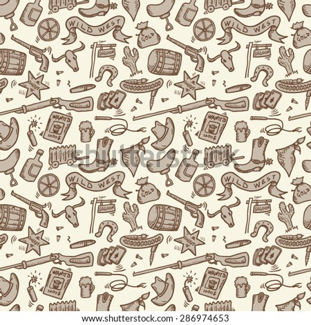 Wild West Hand Drawn Seamless
