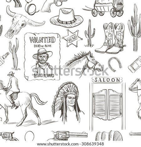Wild West hand drawn seamless pattern with revolvers, skull, injun, cowboy, van, horse, cactus, hat, horseshoe, lasso, sheriff, shoes, star, horseman, saloon - stock vector