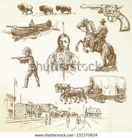 Wild west - hand drawn set - stock vector