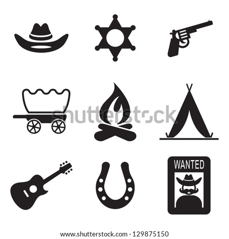 Wild West Icons - stock vector