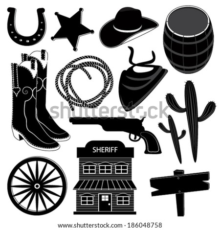Wild West Icons Set : Cowboy - stock vector