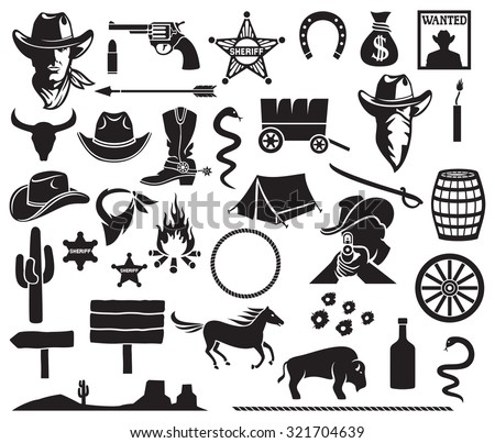wild west icons set cowboy head stock photo photo vector rh shutterstock com Cowboys by Campfire Cowboys at Campfire