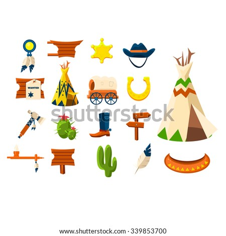 Wild west icons set. Vector illustration of cowboy objects  - stock vector