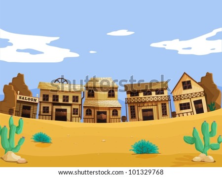 Wild west illustration scene with detail - stock vector