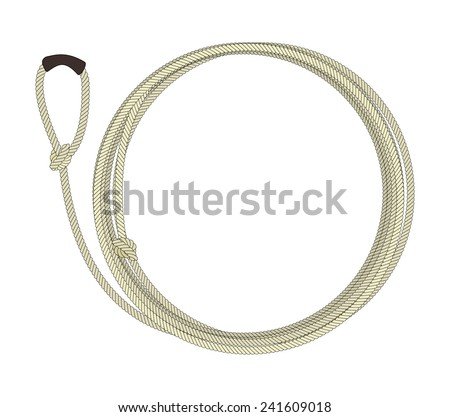 Wild west lasso rope circle frame. Vector clip art color illustration isolated on white - stock vector