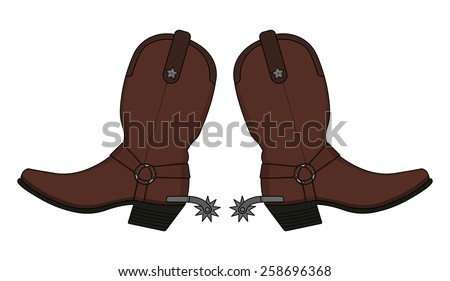 Wild west leather cowboy boot with spurs and stars. Vector clip art illustration isolated on white - stock vector