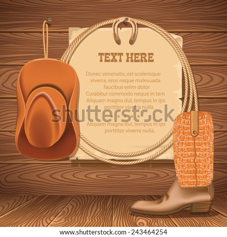 Wild West Poster with cowboy objects.Vector illustration for text - stock vector