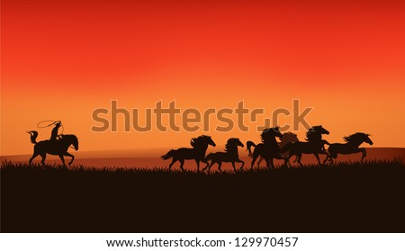 wild west prairie landscape - cowboy chasing the herd of wild horses at the sunset - vector illustration