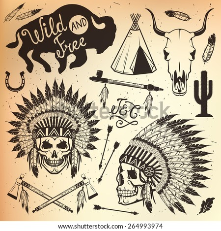 Wild West Sets. Indian chief headdress (indian chief mascot, indian tribal headdress, indian headdress) - stock vector