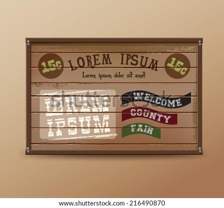 Wild West sign. Retro wooden sign. Fair sign - stock vector
