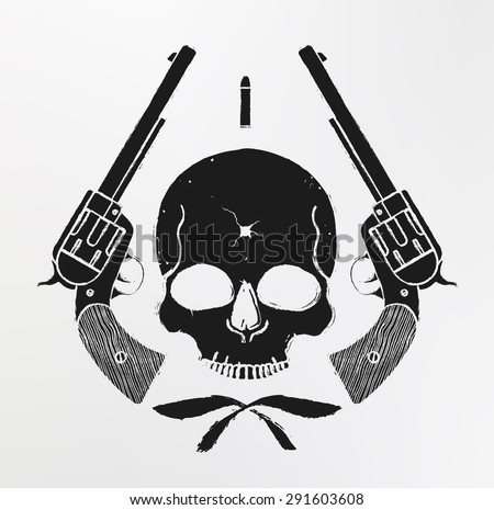 Wild west skull with bullet hole and 2 pistols grunge emblem. Vector - stock vector