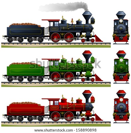 Wild West steam locomotive. Pixel optimized. Elements are in the separate layers. In the side and back views. The appropriate cars are also available ( Image ID: 158890838 ) - stock vector