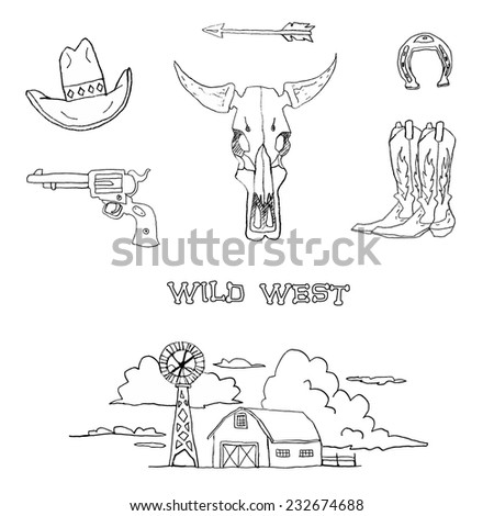 Wild West stuff. Pencil sketch. Cowboy objects. Hat, cow skull, boot, horse shoe, gun, arrow, barn. - stock vector