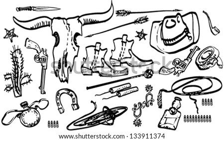 Wild West theme of doodles - stock vector