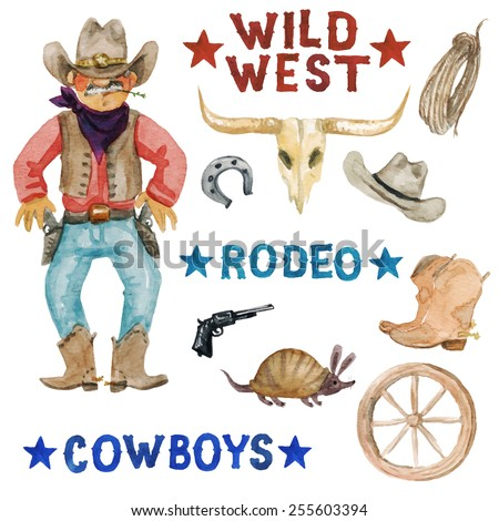 Wild West - vectorized watercolor clip art. More raster watercolors from this series are also available in portfolio.  - stock vector
