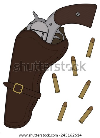 Wild west wood handle revolver in leather holster with bullets. Vector color clip art illustration isolated on white - stock vector