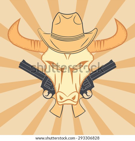 Wild Western poster with bull, guns and hat - stock vector