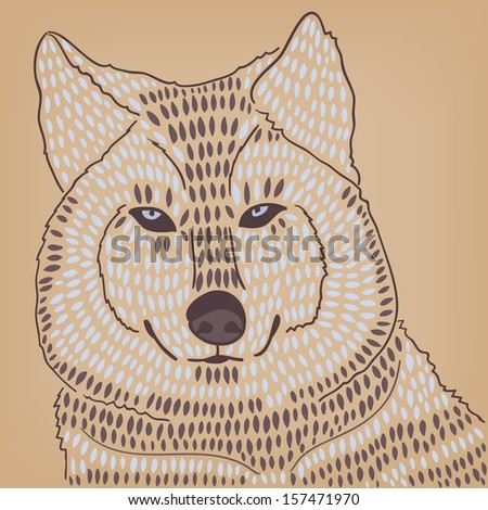 wild wolf husky head - stock vector