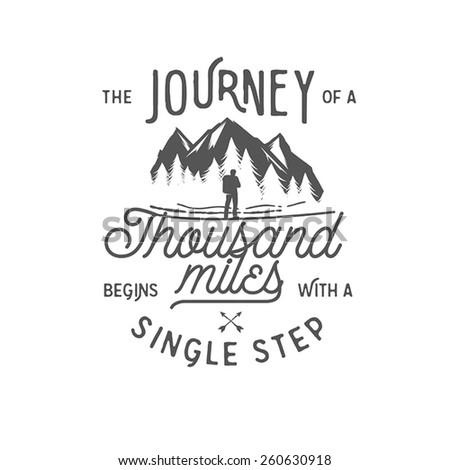 Wilderness quote typographic emblem - stock vector