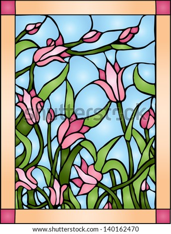 Wildflowers  / Stained glass - stock vector