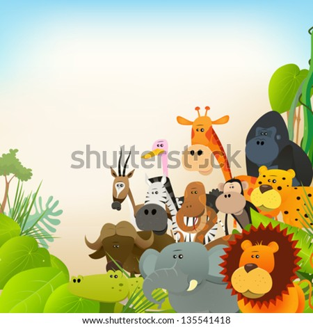 Wildlife Animals Background/ Illustration of cute various cartoon wild ...