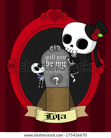 Will you be my valentine? Cool Lola Grim Card. - stock vector