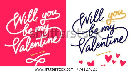 Will You Be My Valentine, Valentineu0027s Day Lettering Card In Monoline Style