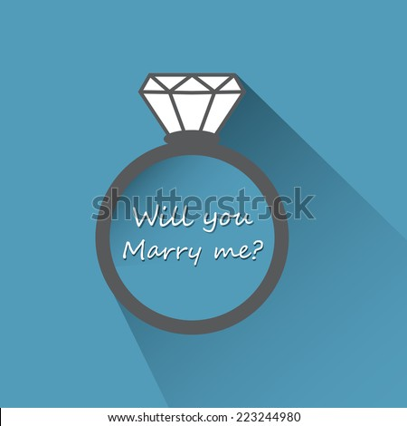 Will you marry me ring sign icon. Engagement symbol. - stock vector