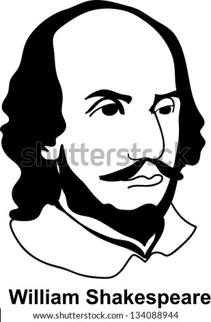 William Shakespeare - black and white (vector) - stock vector