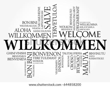 willkommen welcome german word cloud different stock