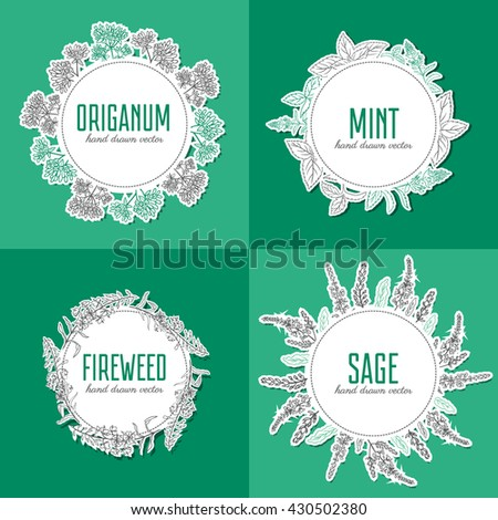 Willow herb, fireweed, rosebay, Blossoming oregano, sage, mint hand drawn sketch vector isolated on white, Round frame, wreath for card, label, sticker, invitation, packaging tea, cosmetic, medicine - stock vector