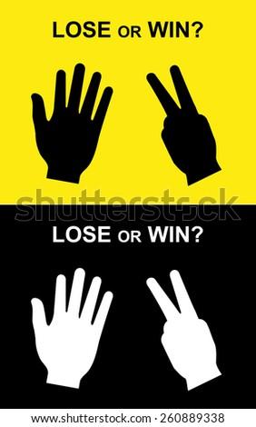 win or lose scissors-paper hand, scissors-paper, scissors-paper hand vector, competition hand signs - stock vector