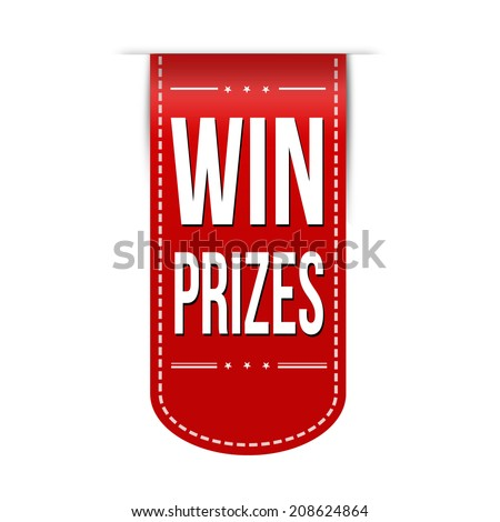 Win prizes banner design over a white background, vector illustration - stock vector