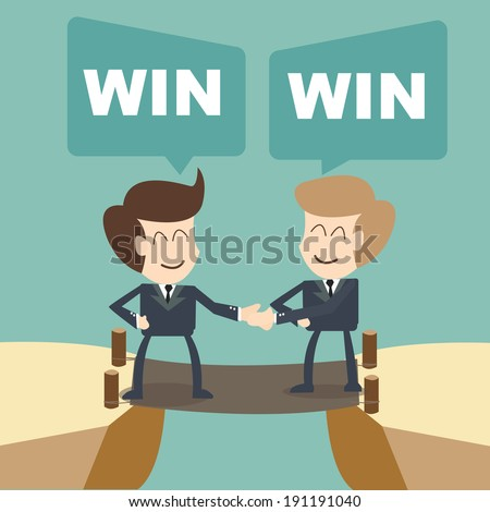 win win businessman with shake hands on cliff - stock vector