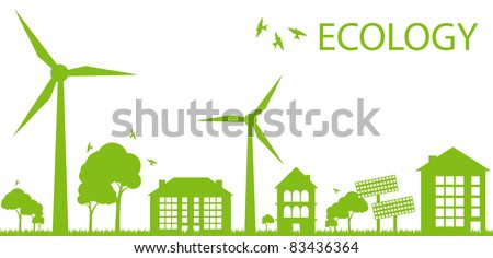 Wind alternative energy generator blue vector background - stock vector
