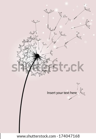 wind blows seeds across the screen, dandelion silhouette on pink background - stock vector